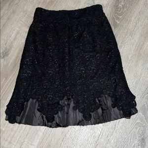 Anthropology Leifsdottir Black Lace Skirt